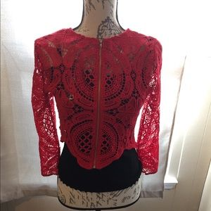 Lace knitted zip up jacket in red size 2
